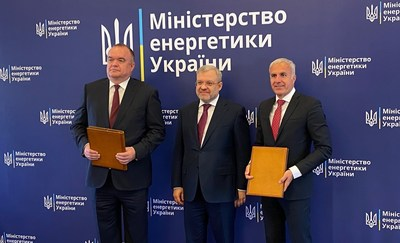 Westinghouse-Energoatom contracting signing on June 10, 2021. Pictured from left: Mr. Petro Kotin, Energoatom's Acting President, Ukraine Minister of Energy Mr. Herman Halushchenko, Mr. Aziz Dag Westinghouse Vice President and Managing Director Northern and Eastern Europe